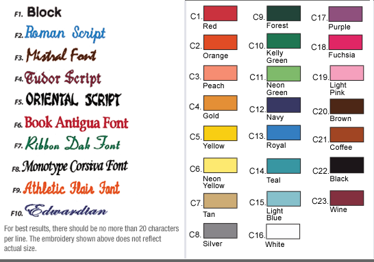 Font and Thread Color Optiona for Women's Chef Coats