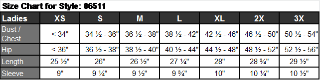 Sizing Chart for Women's Chef Coats