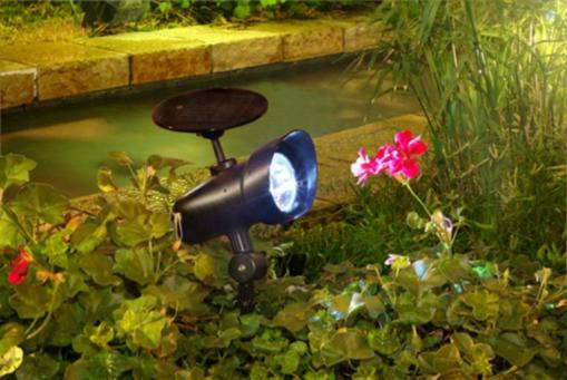Solar-powered Spot Light higlights your flower bed