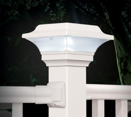 Installed Solar-powered Fence Post Cap - Imperial White