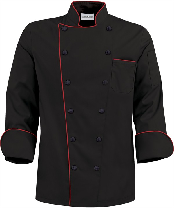 Traditional Chef Jacket with True Red Contrast Piping